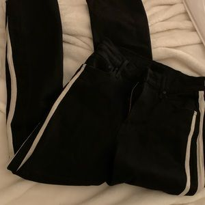 MOTHER black jeans with striped up side
